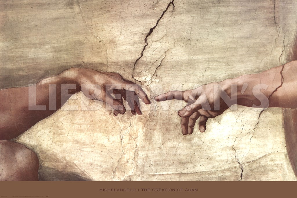 Creation of adam hands detail by michelangelo buonarroti art print